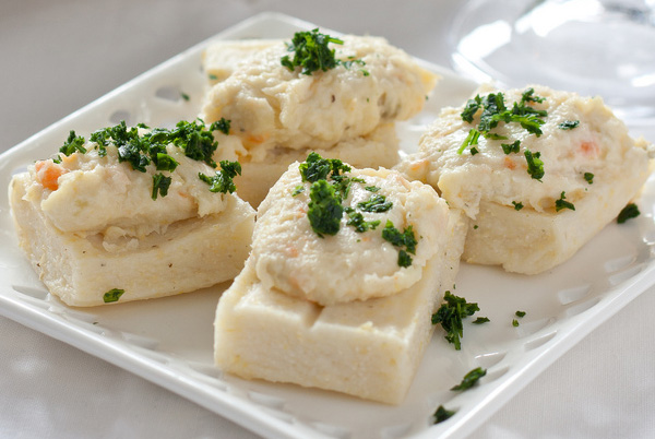 POLENTA WITH COD MOUSSE